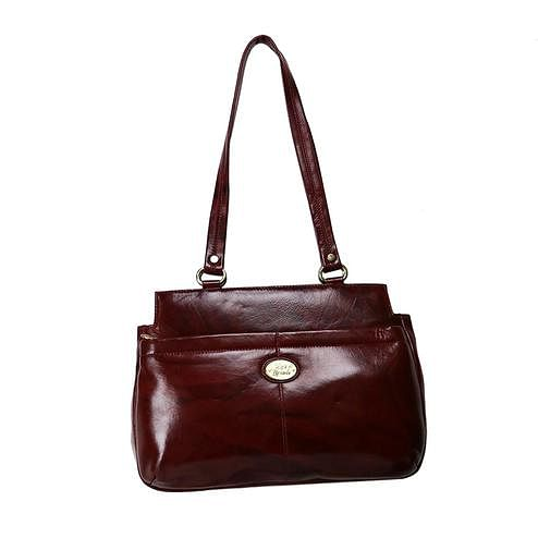 Lelys - Stylish Leather Hand Bag - Brown