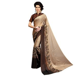 Mesmerising Brown Printed Imported Chiffon Saree