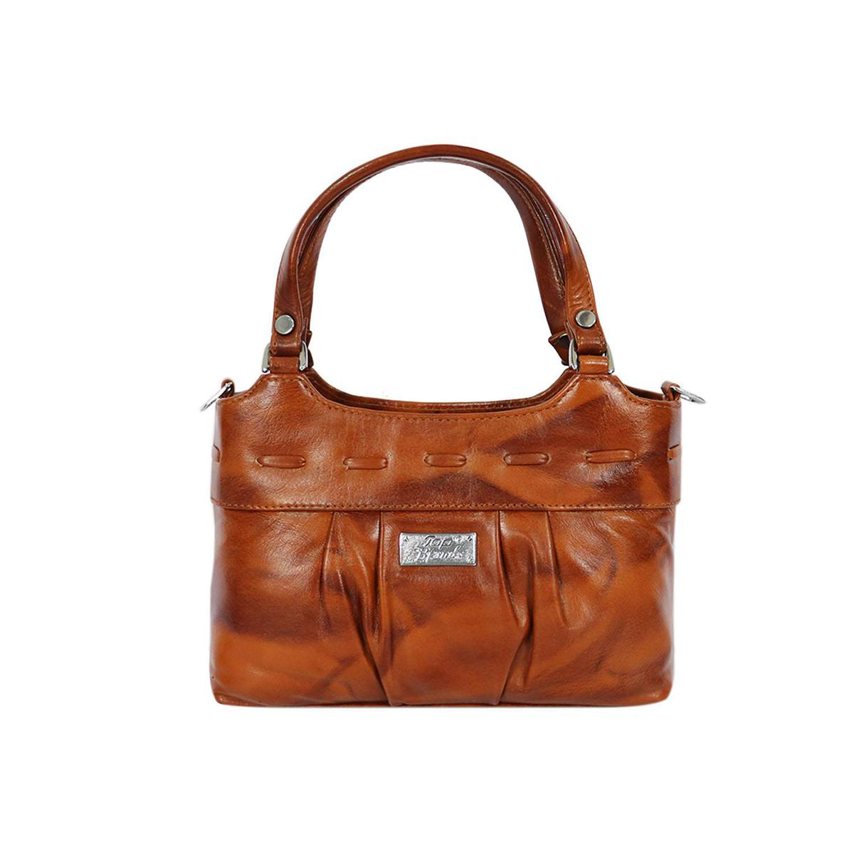 Lelys - Women's Pure Leather Brown Hand Bag
