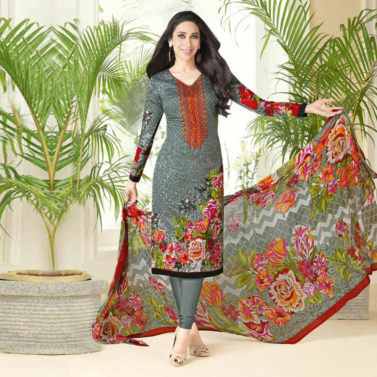 Dazzling Gray Printed And Self Embroidered Cotton Satin Dress Material