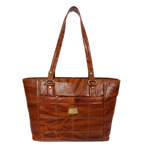 Lelys - Rich Material Pure Leather Brown Hand Bag For Women/Girls