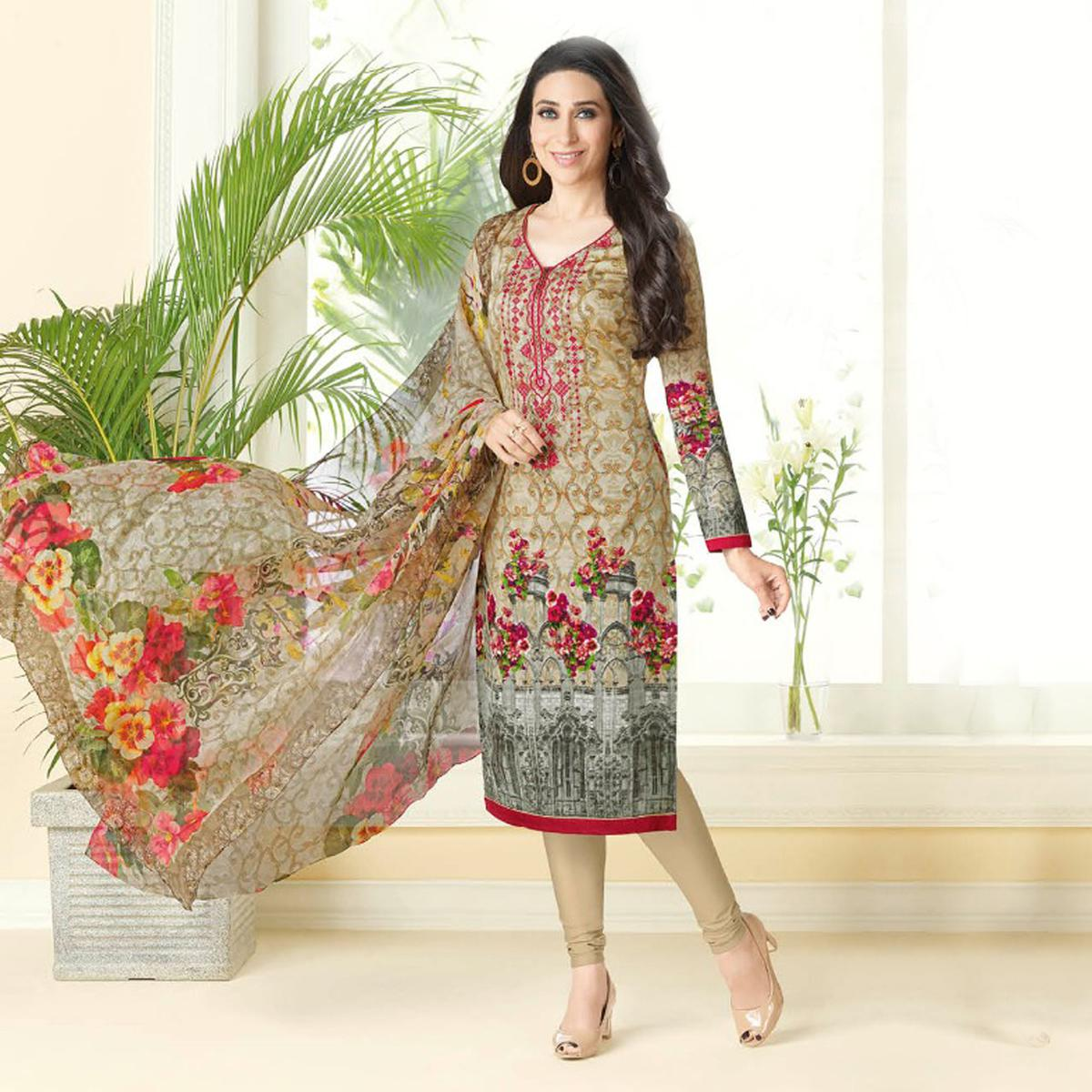 Stunning Beige Printed And Self Embroidered Cotton Satin Dress Material