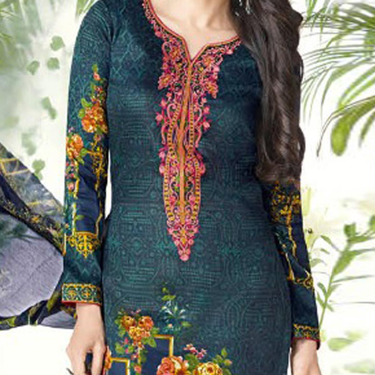 Adorable Bottle Green Printed And Self Embroidered Cotton Satin Dress Material