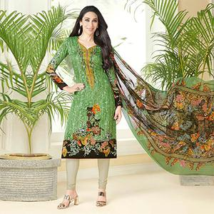 Ravishing Green Printed And Self Embroidered Cotton Satin Dress Material