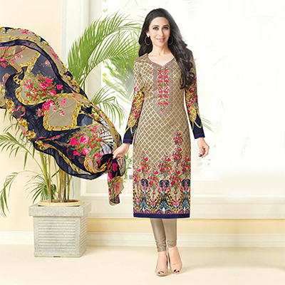 Flamboyant Beige-Pink Printed And Self Embroidered Cotton Satin Dress Material