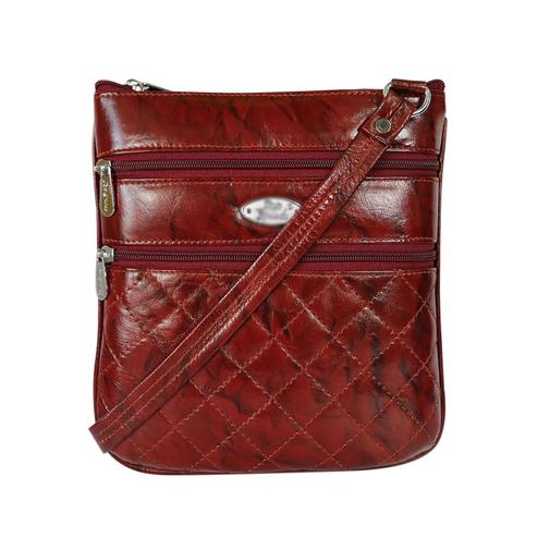 Lelys - Unique Pattern Stylish Pure Leather Sling Bag For Women/Girls - Brown