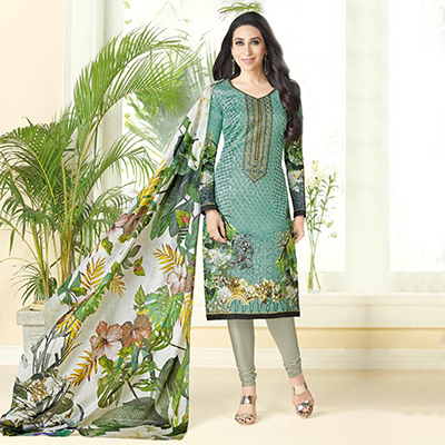 Attractive Dark Green Printed And Self Embroidered Cotton Satin Dress Material