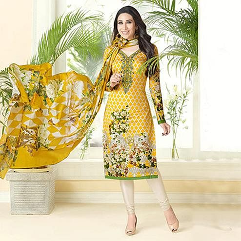Graceful Yellow Printed And Self Embroidered Cotton Satin Dress Material