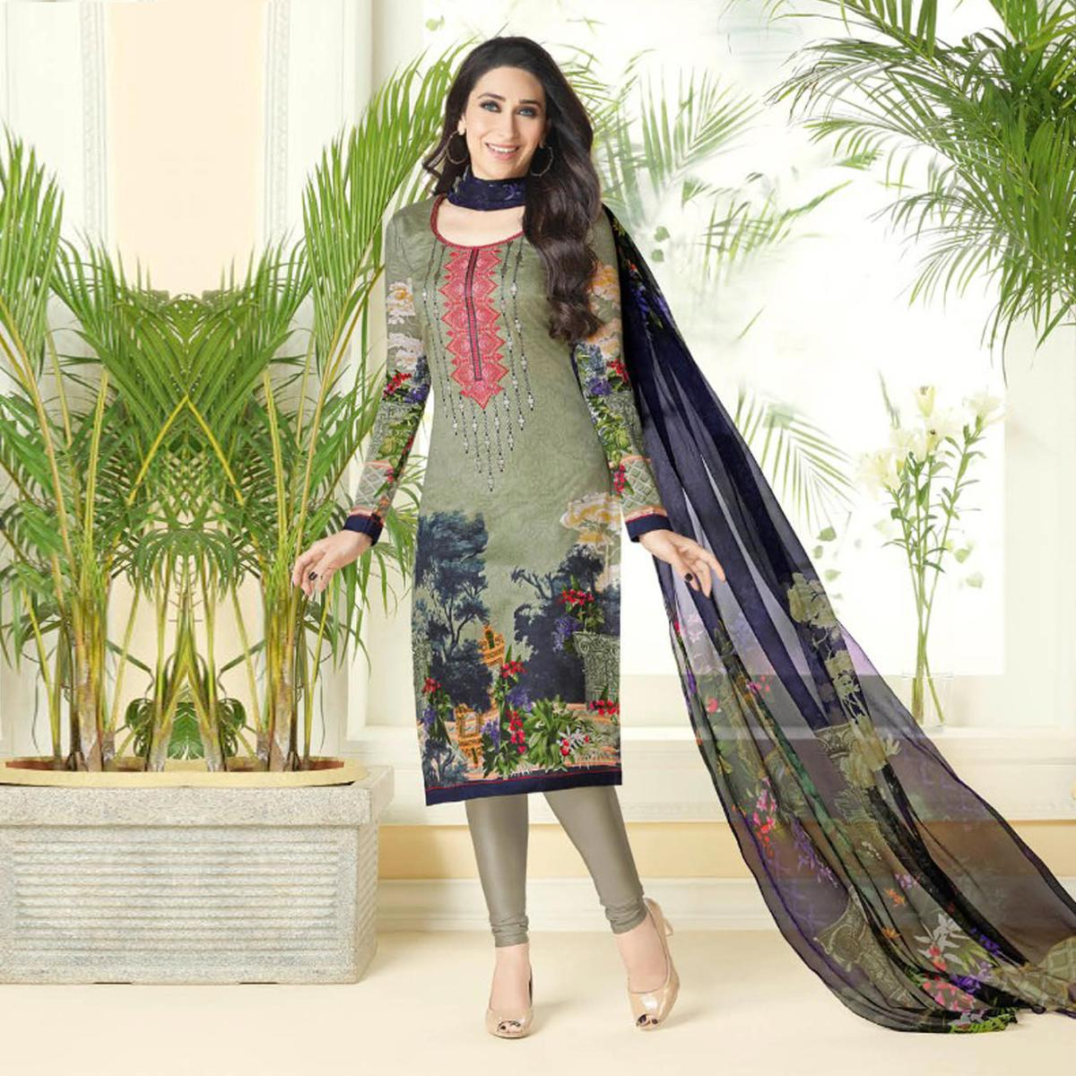 Classy Multi Colored Printed And Self Embroidered Cotton Satin Dress Material