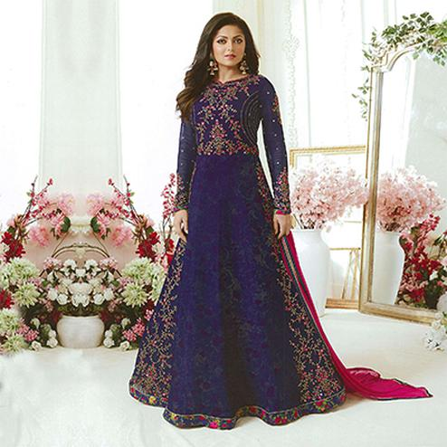 Stunning Royal Blue Designer Embroidered Partywear Georgette Anarkali Suit