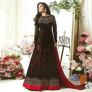 Gorgeous Black Designer Embroidered Partywear Georgette Anarkali Suit