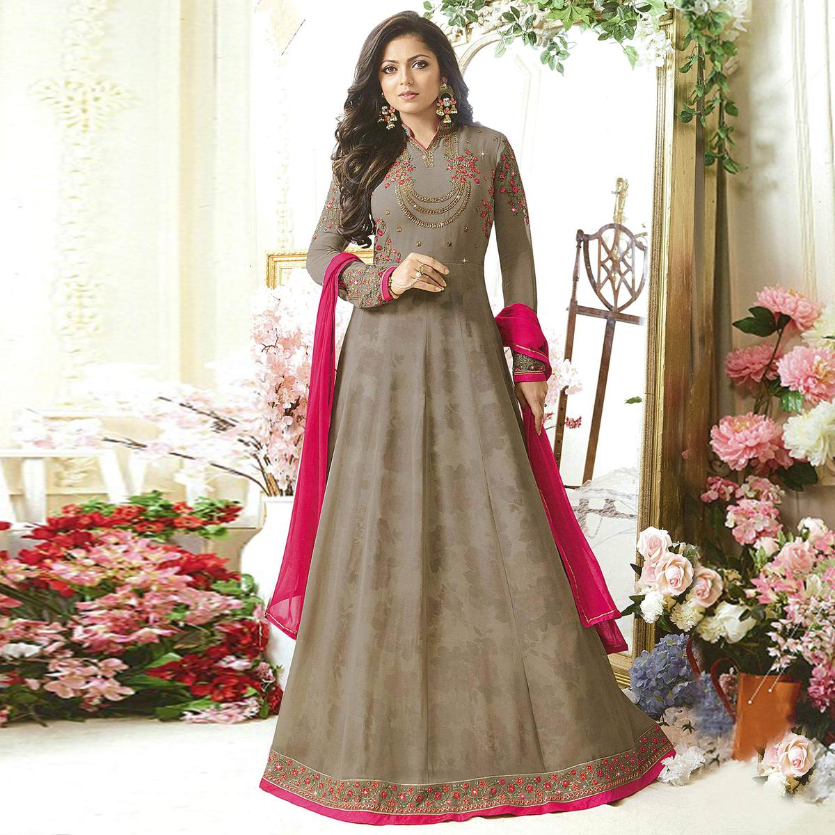 Beautiful Gray Designer Embroidered Partywear Georgette Anarkali Suit
