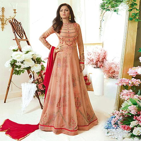 Graceful Peach Designer Embroidered Partywear Georgette Anarkali Suit