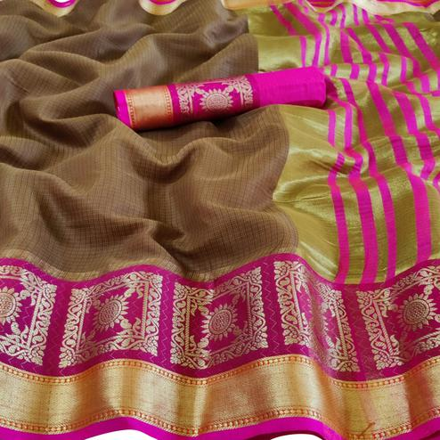 Exceptional Brown Colored Festive Wear Woven Kota Doria Saree