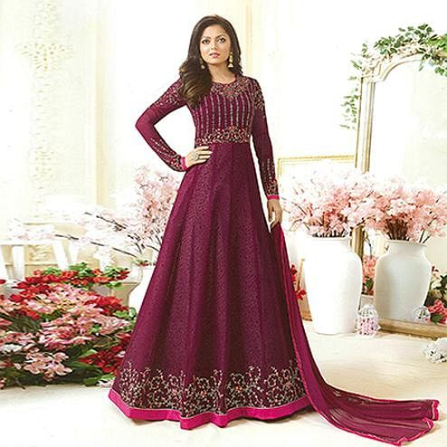 Mesmerising Wine Colored Designer Embroidered Partywear Georgette Anarkali Suit