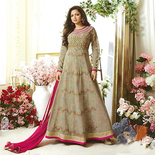 Lovely Beige Designer Embroidered Partywear Georgette Anarkali Suit