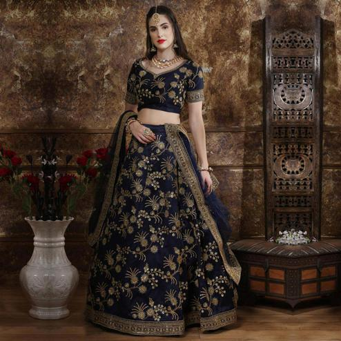 Graceful Navy Blue Colored Party Wear Embroidered Thai Silk Lehenga Choli