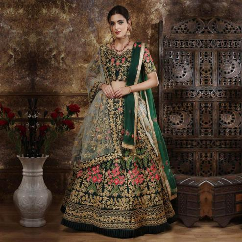 Blooming Peach Colored Party Wear Embroidered Phantom Art Silk Lehenga Choli