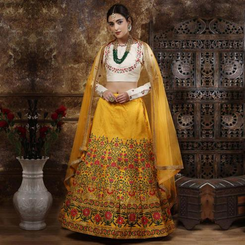 Glorious Navy Blue Colored Party Wear Embroidered Phantom Art Silk Lehenga Choli