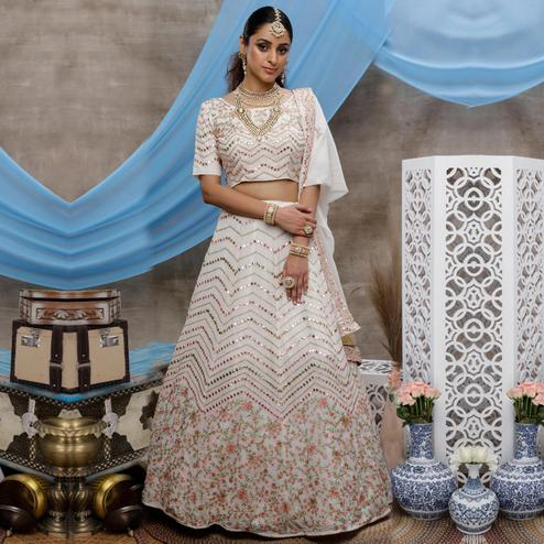 Elegant White Colored Party Wear Embroidered Georgette Lehenga Choli