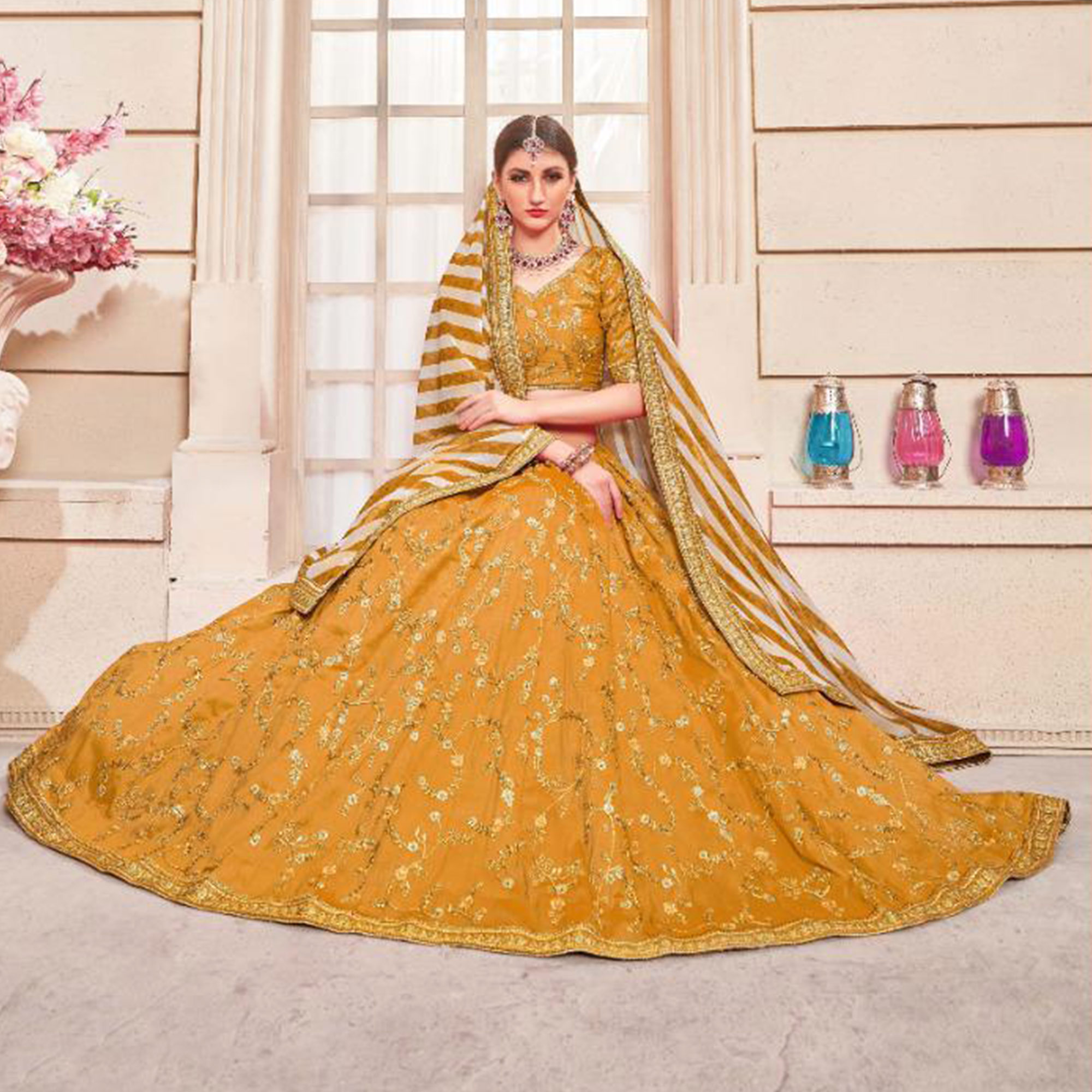 Blissful Yellow Colored Party Wear Embroidered Phantom Art Silk Lehenga Choli
