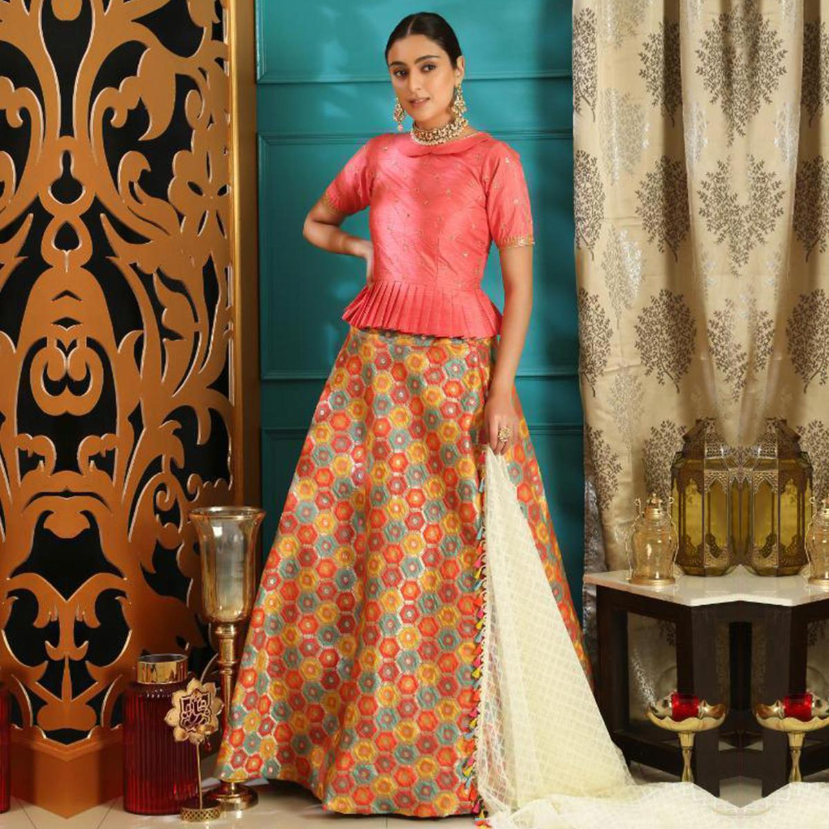 Entrancing Pink Colored Party Wear Woven Jacquard Lehenga Choli
