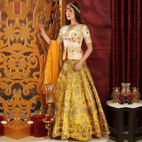 Glowing White-Yellow Colored Party Wear Foil Print Silk Lehenga Choli