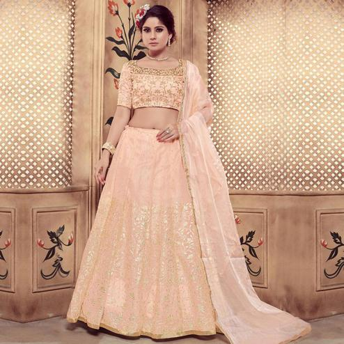 Breathtaking Peach Colored Party Wear Embroidered Georgette Lehenga Choli