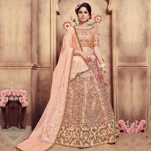 Ethnic Peach Colored Party Wear Embroidered Silk Lehenga Choli