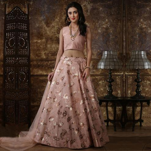 Marvellous Dusty Peach Colored Party Wear Foil Print Thai Silk Lehenga Choli