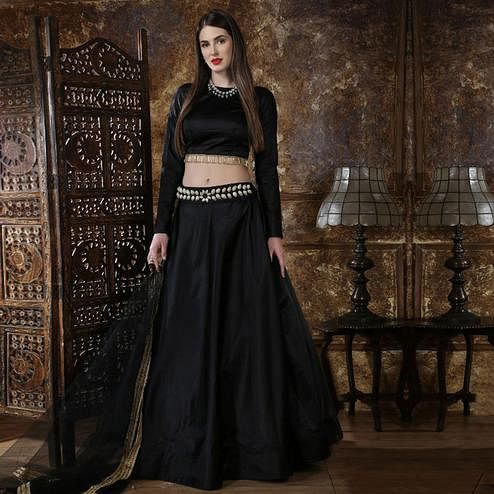 Flamboyant Black Colored Party Wear Taffeta Satin Lehenga Choli