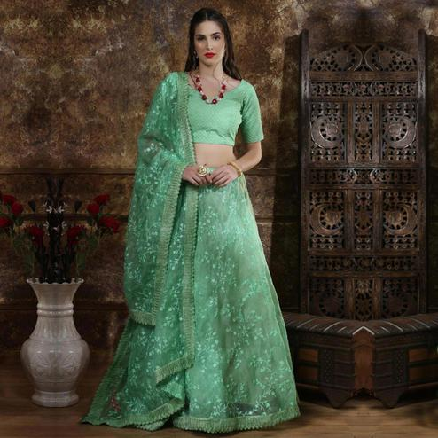 Alluring Mint Green Colored Party Wear Embrodiered Organza Lehenga Choli