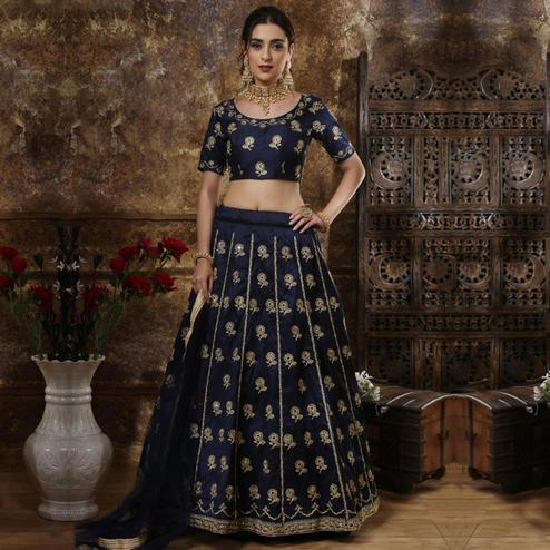 Stunning Navy Blue Colored Party Wear Embrodiered Thai Silk Lehenga Choli