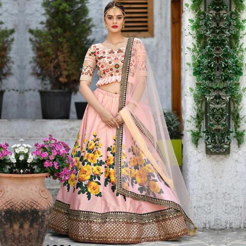 Trendy Peach Colored Party Wear Embroidered Silk Lehenga Choli