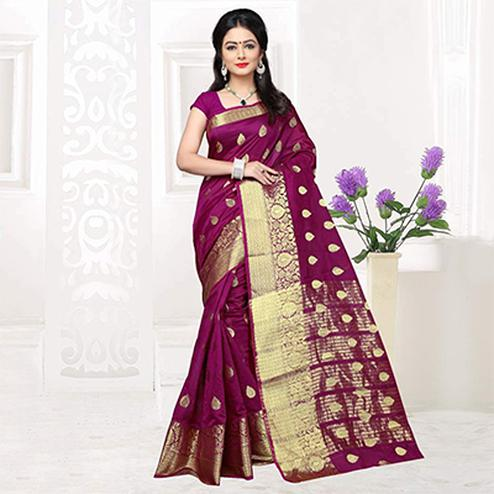 Wine Color Weaving Work Silk Saree