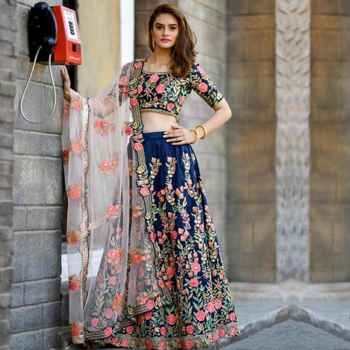 Pleasant Navy Blue Colored Party Wear Embroidered Silk Lehenga Choli