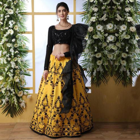 Adorable Yellow Colored Party Wear Embrodiered Art Silk Lehenga Choli