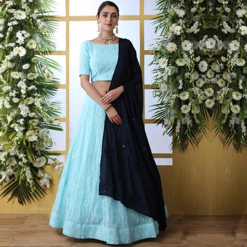 Blooming Sky Blue Colored Party Wear Embrodiered Georgette Lehenga Choli