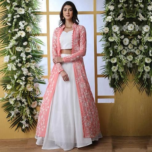 Classy White Colored Party Wear Solid Georgette Lehenga Choli With Koti