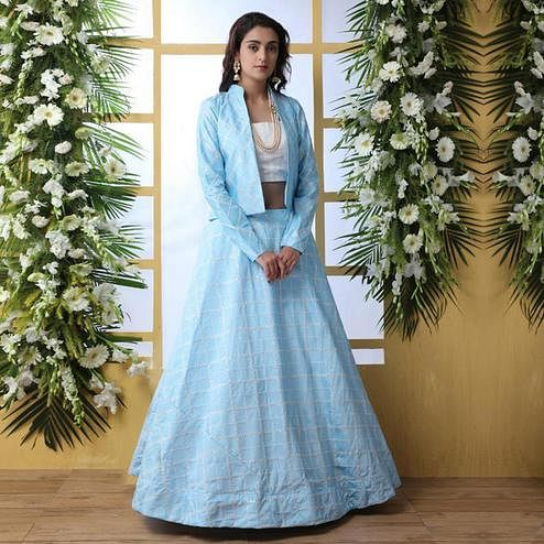 Capricious Sky Blue Colored Party Wear Embroidered Art Silk Lehenga Choli With Koti