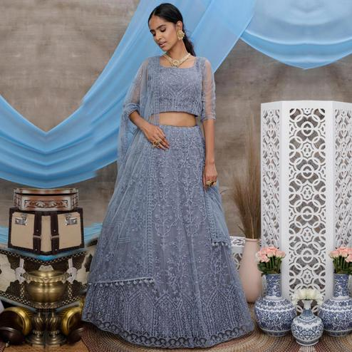 Desirable Grey Colored Party Wear Embroidered Net Lehenga Choli