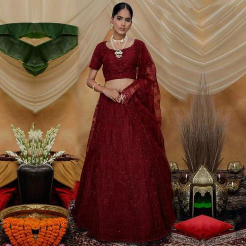 Trendy Maroon Colored Party Wear Embroidered Net Lehenga Choli