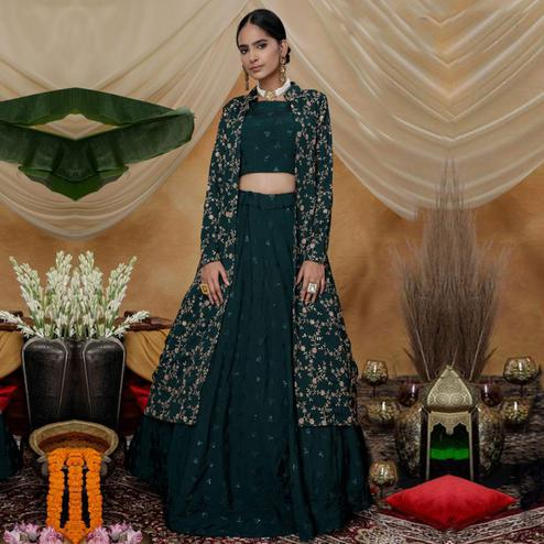 Jazzy Green Colored Party Wear Embroidered Chinon Art Silk Lehenga Choli