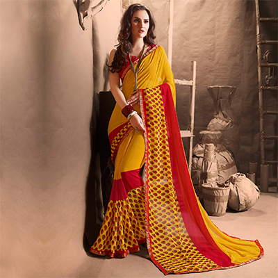 Beautiful Yellow Designer Digital Printed Georgette Saree