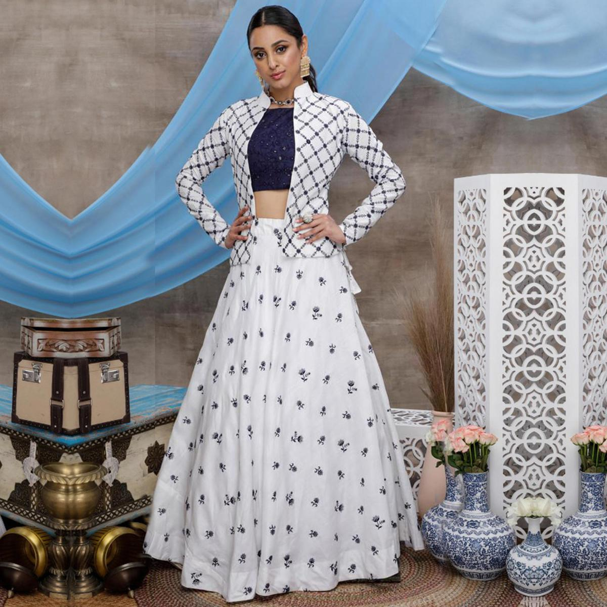 Delightful White-Navy Blue Colored Party Wear Embroidered Cotton Lehenga Choli