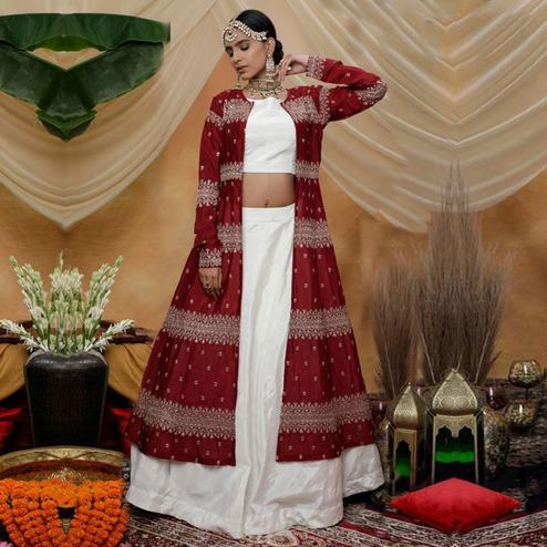 Engrossing White-Maroon Colored Party Wear Embroidered Chinon Art Silk Lehenga Choli