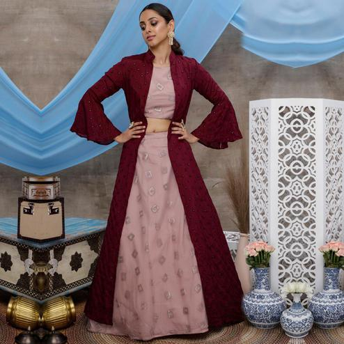 Eye-catching Dusty Pink-Purple Colored Party Wear Embroidered Net Lehenga Choli