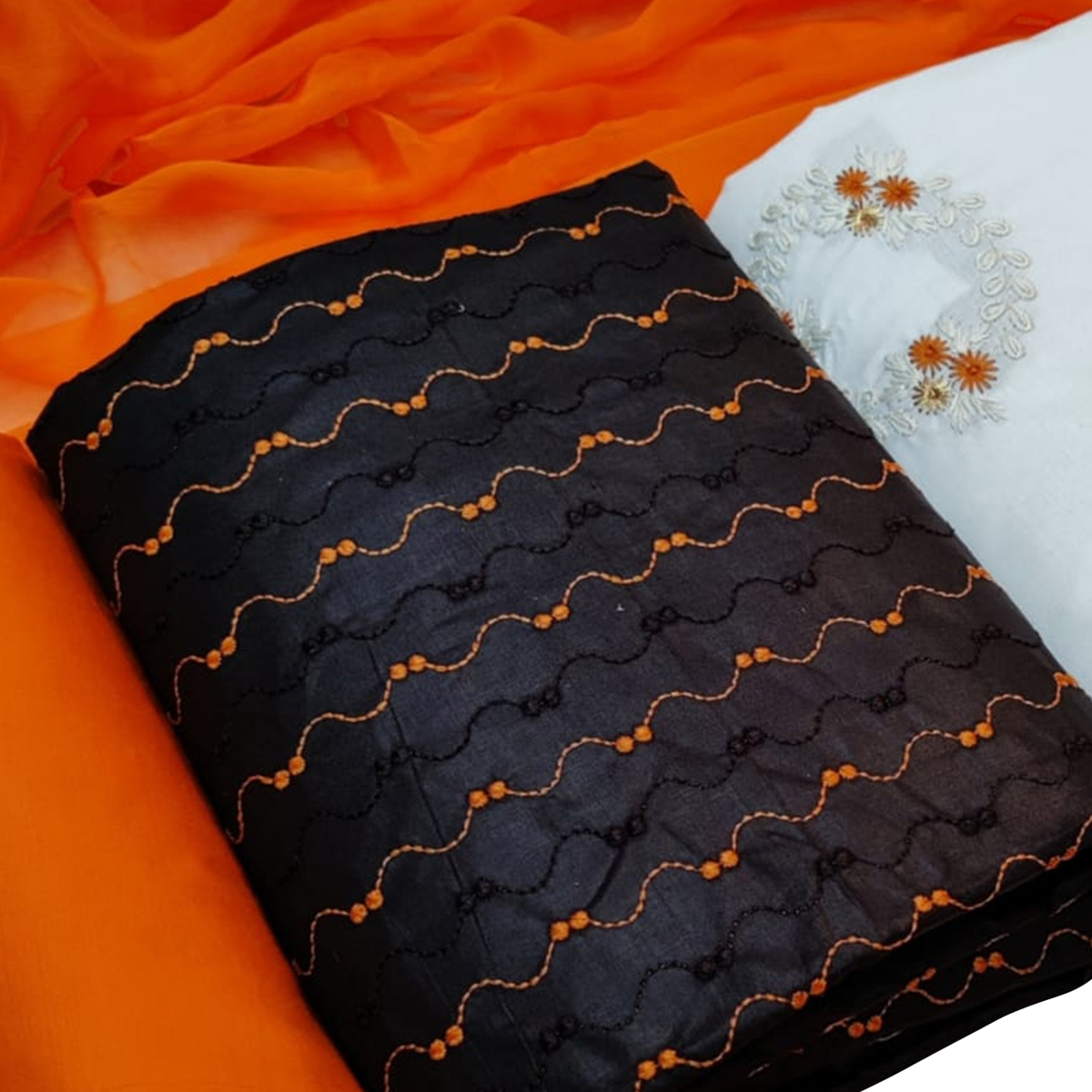 Glorious Orange Colored Partywear Embroidered Dual Top Cotton Dress Material