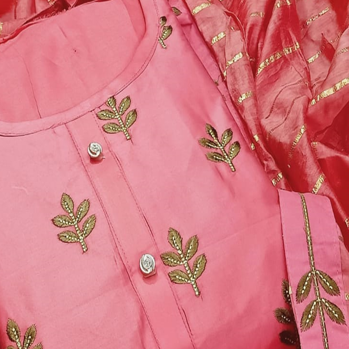 Graceful Pink Colored Partywear Embroidered Cotton Dress Material