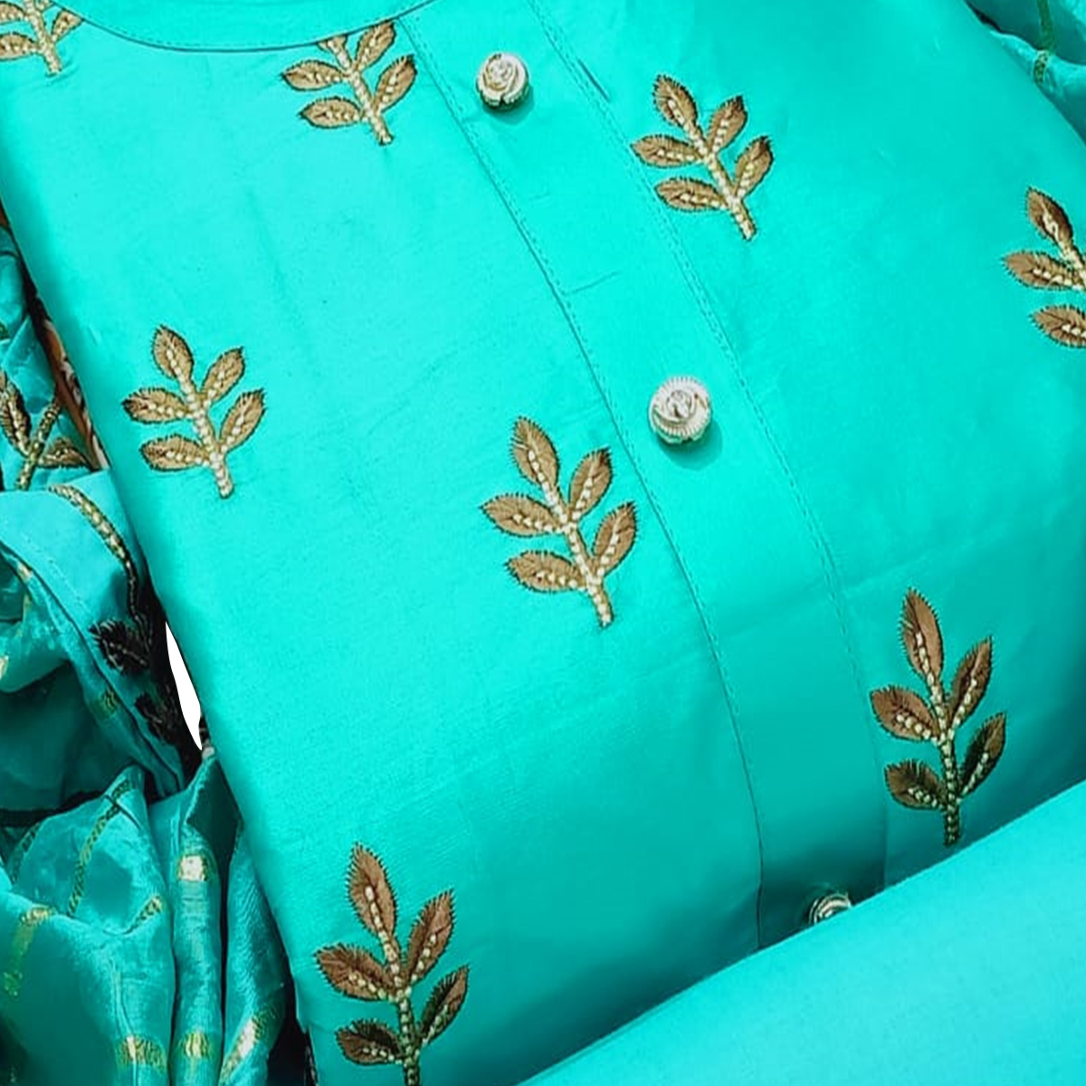 Blooming Aqua Blue Colored Partywear Embroidered Cotton Dress Material